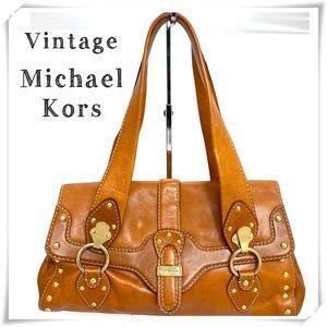 VTG Michael Kors Astor Gold Studded Satchel Bag
